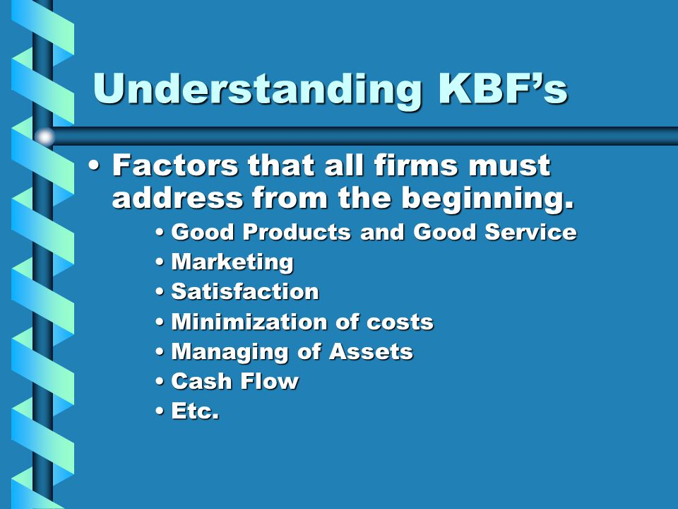 Understanding KBF's ExampleExample A key business Factor for an organization may be getting the deliveries out fast and reliablyA key business Factor for an organization may be getting the deliveries out fast and reliably