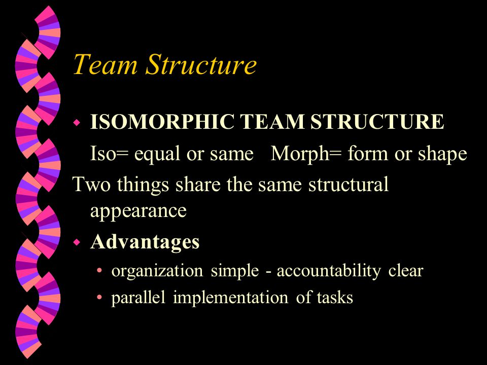 Team Structure w ISOMORPHIC TEAM STRUCTURE Iso= equal or same Morph= form or shape Two things share the same structural appearance w Advantages organi