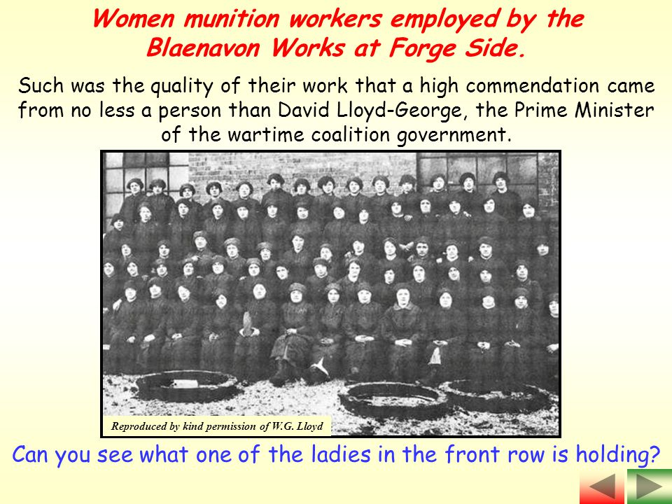 Women munition workers employed by the Blaenavon Works at Forge Side.