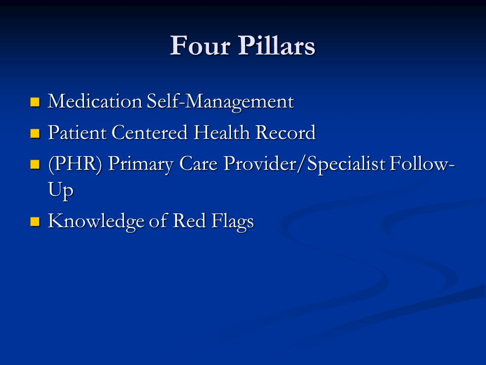 Four Pillars Medication Self-Management Medication Self-Management Patient Centered Health Record Patient Centered Health Record (PHR) Primary Care Provider/Specialist Follow- Up (PHR) Primary Care Provider/Specialist Follow- Up Knowledge of Red Flags Knowledge of Red Flags