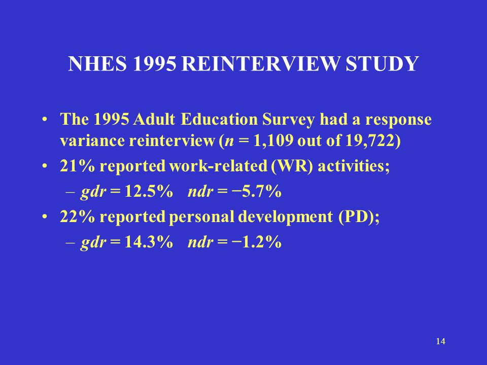 14 NHES 1995 REINTERVIEW STUDY The 1995 Adult Education Survey had a response variance reinterview (n = 1,109 out of 19,722) 21% reported work-related (WR) activities; –gdr = 12.5%ndr = −5.7% 22% reported personal development (PD); –gdr = 14.3% ndr = −1.2%