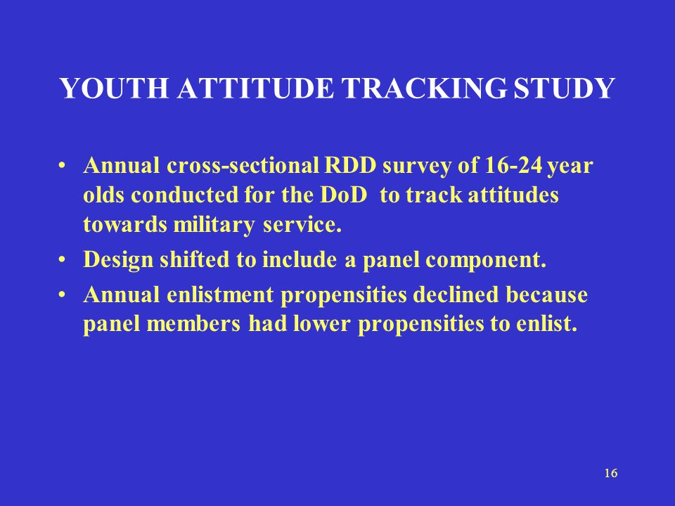 16 YOUTH ATTITUDE TRACKING STUDY Annual cross-sectional RDD survey of 16-24 year olds conducted for the DoD to track attitudes towards military service.