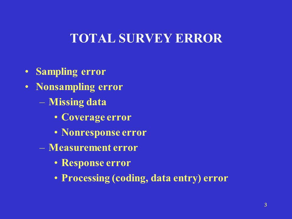 3 TOTAL SURVEY ERROR Sampling error Nonsampling error –Missing data Coverage error Nonresponse error –Measurement error Response error Processing (coding, data entry) error