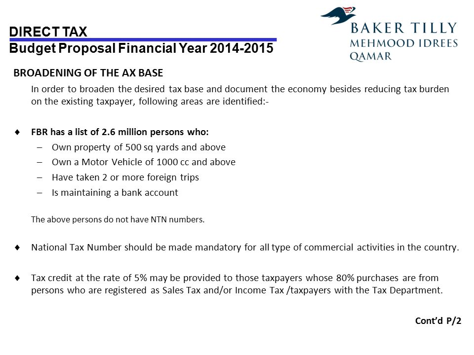 DIRECT TAX Budget Proposal Financial Year 2014-2015 Page # 2 Proposal –Levy of penalties to be reviewed.