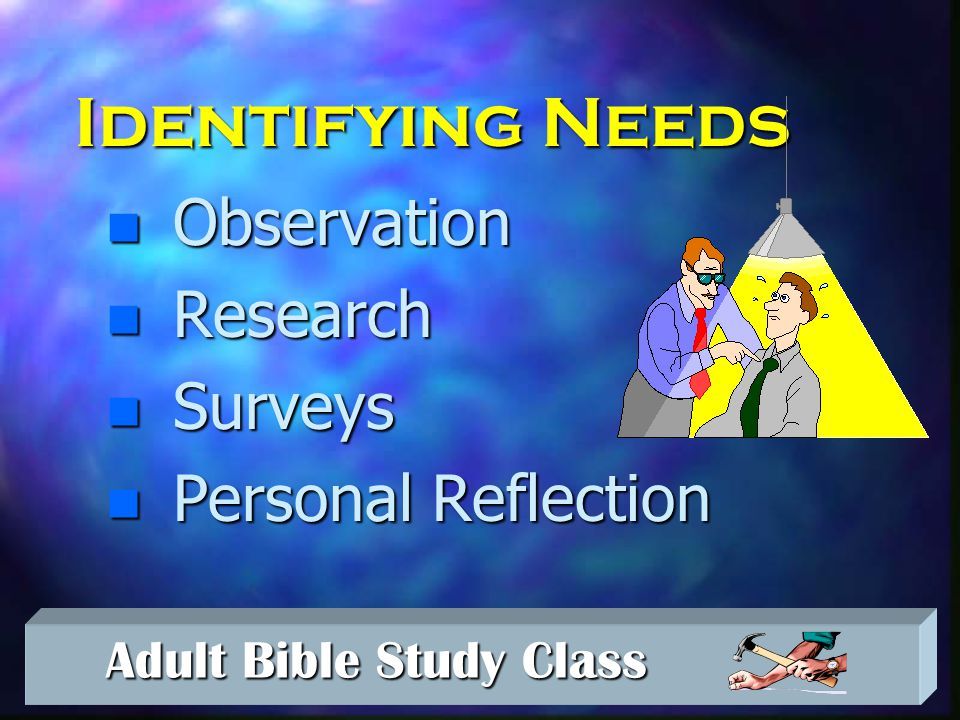 Adult Bible Study Class Adult Bible Study Class Drop out generally is not from a SINGLE experience but from a SERIES of such experiences.