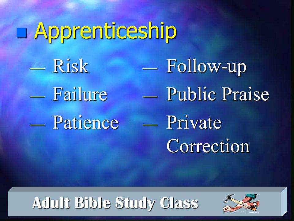Adult Bible Study Class Adult Bible Study Class Principles of Mentoring n Instruction n Modeling n Apprenticeship