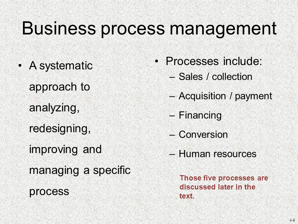 4-9 Business process management Generalized model of BPM –Select the process and define its boundaries.