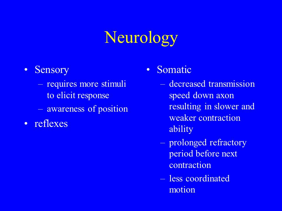 Neurology Sensory –requires more stimuli to elicit response –awareness of position reflexes Somatic –decreased transmission speed down axon resulting