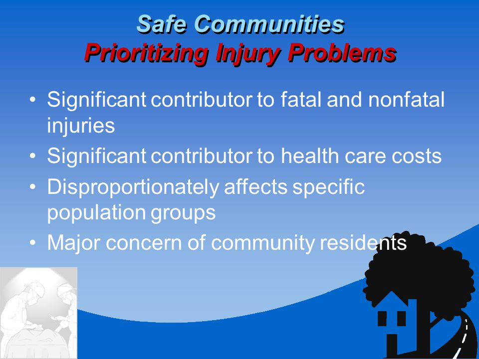 Significant contributor to fatal and nonfatal injuries Significant contributor to health care costs Disproportionately affects specific population groups Major concern of community residents Safe Communities Prioritizing Injury Problems