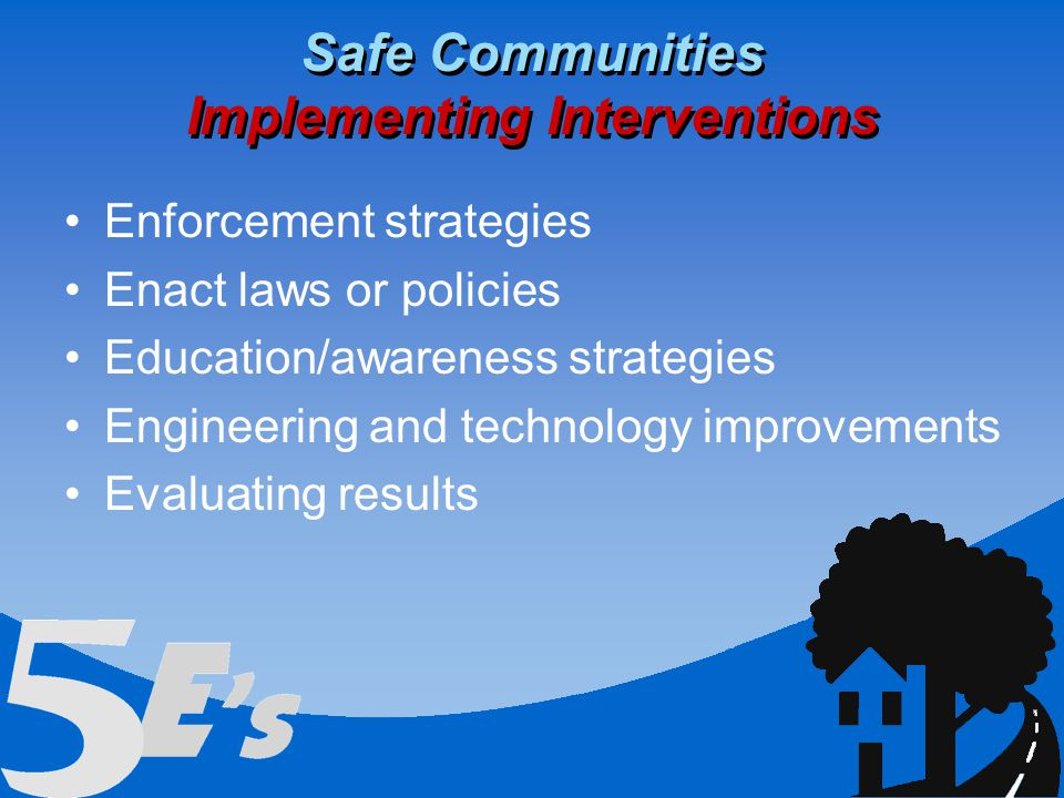 Enforcement strategies Enact laws or policies Education/awareness strategies Engineering and technology improvements Evaluating results Safe Communities Implementing Interventions