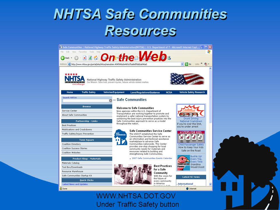 NHTSA Safe Communities Resources WWW.NHTSA.DOT.GOV Under Traffic Safety button On the Web