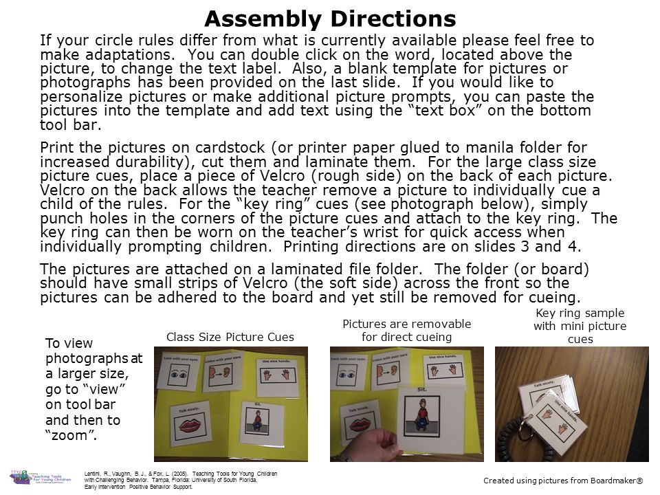 Assembly Directions If your circle rules differ from what is currently available please feel free to make adaptations.