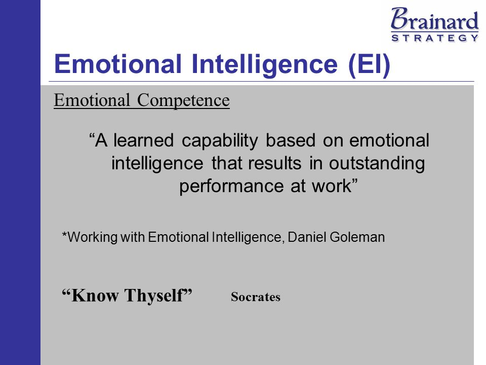 Emotional Intelligence (EI) Five Essential Competencies to Raise EI Self-Awareness - Knowing one's internal states, preference, resources and intuition Self-Regulation - Managing one's internal states, impulses and resources Self-Motivation - Emotional tendencies that guide or facilitate reaching goals Empathy - Awareness of others' feelings, needs and concerns Effective Relationships - Adeptness at inducing desirable responses in others Working with Emotional Intelligence, Coleman