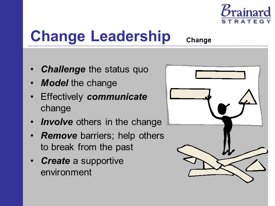 Change Leadership Challenge the status quo Model the change Effectively communicate change Involve others in the change Remove barriers; help others to break from the past Create a supportive environment Change