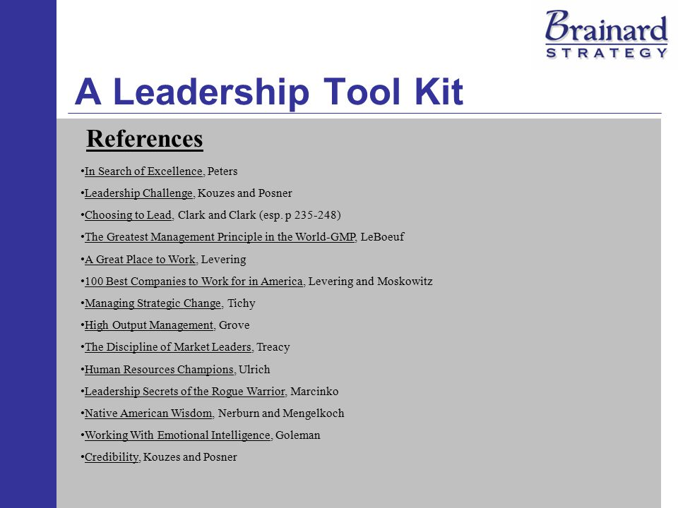 A Leadership Tool Kit References In Search of Excellence, Peters Leadership Challenge, Kouzes and Posner Choosing to Lead, Clark and Clark (esp.