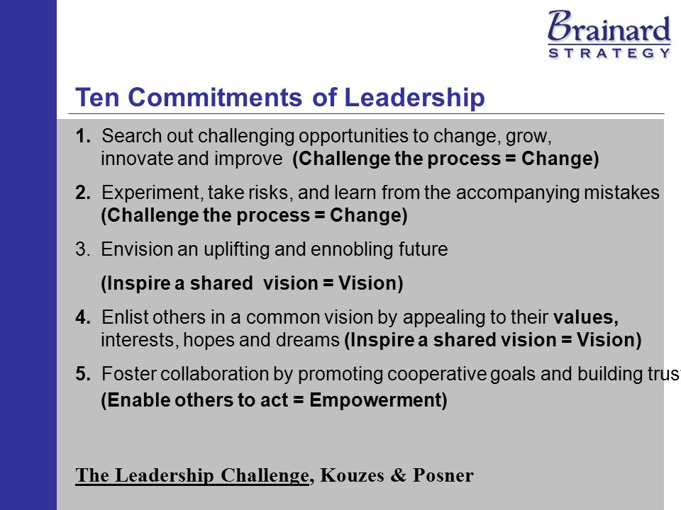 Ten Commitments of Leadership (cont.) 6.Strengthen people by giving power away, providing choice, developing competence, assigning critical tasks, and offering visible support (Enable others to act - Empowerment) 7.
