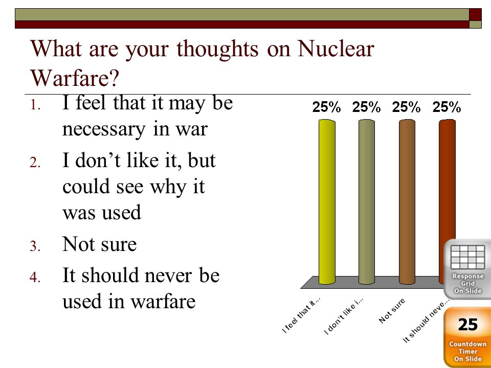 What are your thoughts on Nuclear Warfare? 1. I feel that it may be necessary in war 2. I don't like it, but could see why it was used 3. Not sure 4.