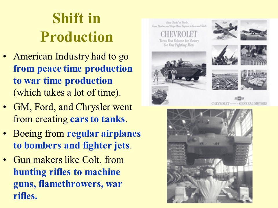 Shift in Production American Industry had to go from peace time production to war time production (which takes a lot of time).