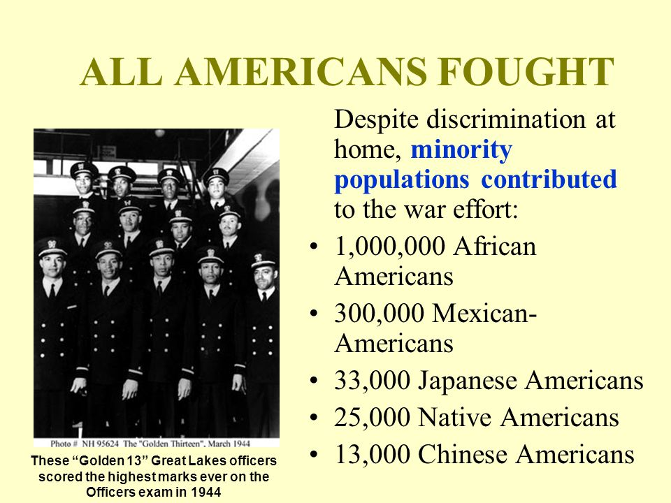 ALL AMERICANS FOUGHT Despite discrimination at home, minority populations contributed to the war effort: 1,000,000 African Americans 300,000 Mexican- Americans 33,000 Japanese Americans 25,000 Native Americans 13,000 Chinese Americans These Golden 13 Great Lakes officers scored the highest marks ever on the Officers exam in 1944