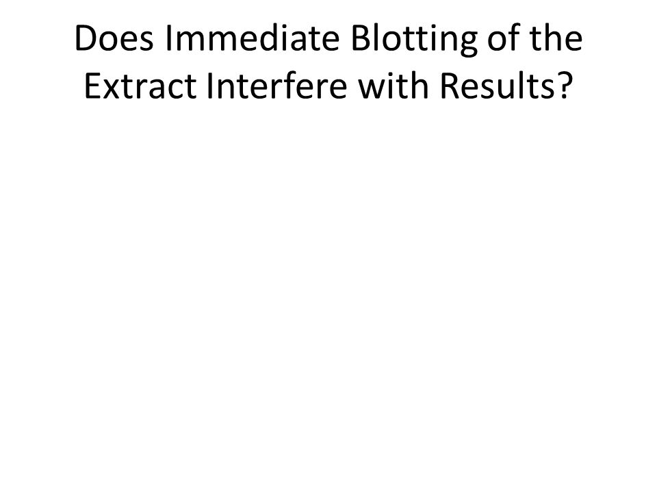 Does Immediate Blotting of the Extract Interfere with Results