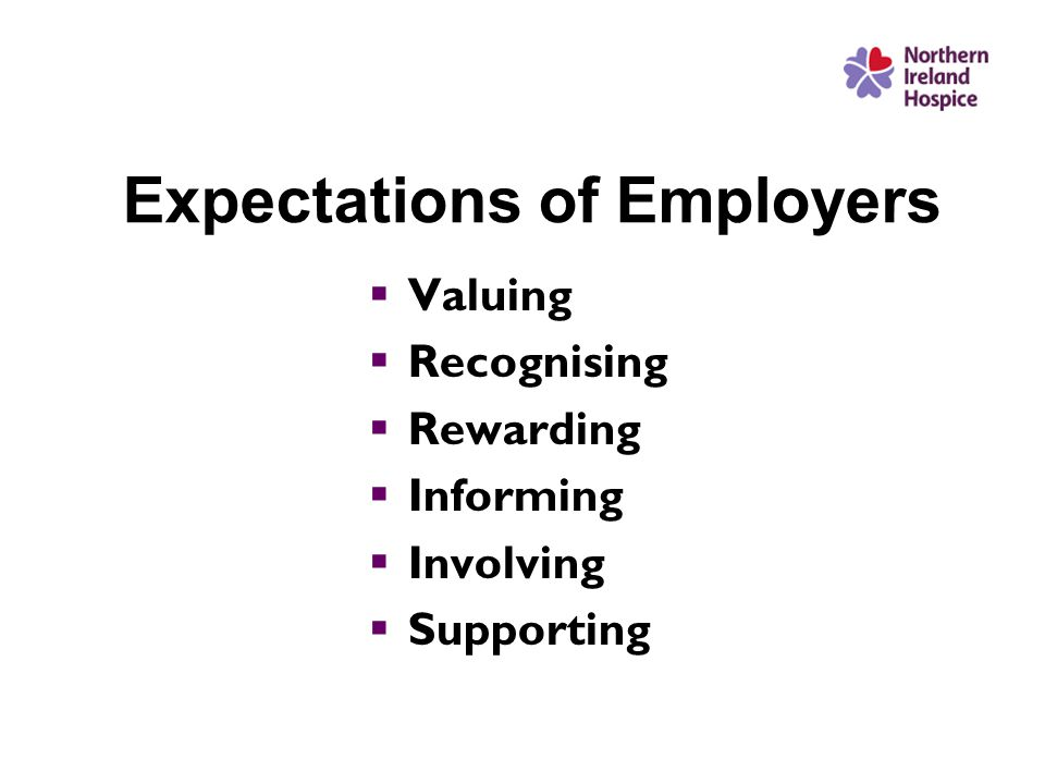 Expectations of Employers  Valuing  Recognising  Rewarding  Informing  Involving  Supporting