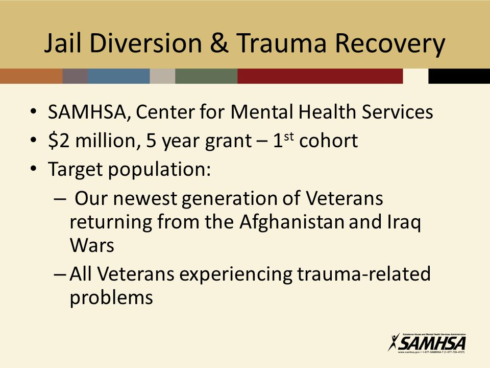 Jail Diversion & Trauma Recovery SAMHSA, Center for Mental Health Services $2 million, 5 year grant – 1 st cohort Target population: – Our newest generation of Veterans returning from the Afghanistan and Iraq Wars – All Veterans experiencing trauma-related problems