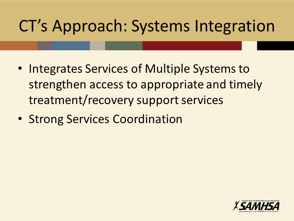 CT's Approach: Systems Integration Integrates Services of Multiple Systems to strengthen access to appropriate and timely treatment/recovery support services Strong Services Coordination