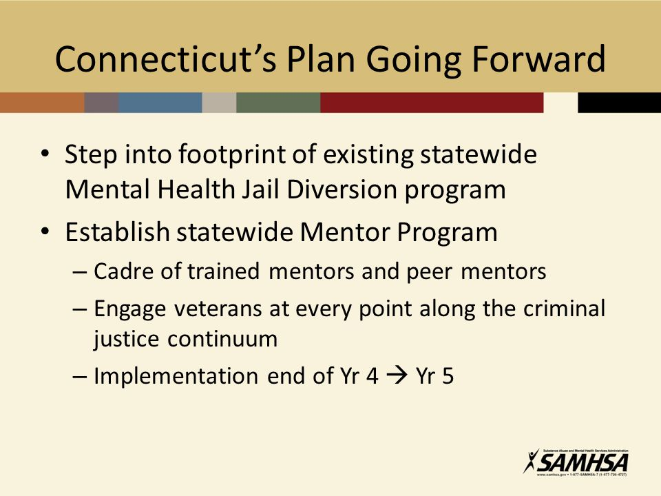 Connecticut's Plan Going Forward Step into footprint of existing statewide Mental Health Jail Diversion program Establish statewide Mentor Program – Cadre of trained mentors and peer mentors – Engage veterans at every point along the criminal justice continuum – Implementation end of Yr 4  Yr 5