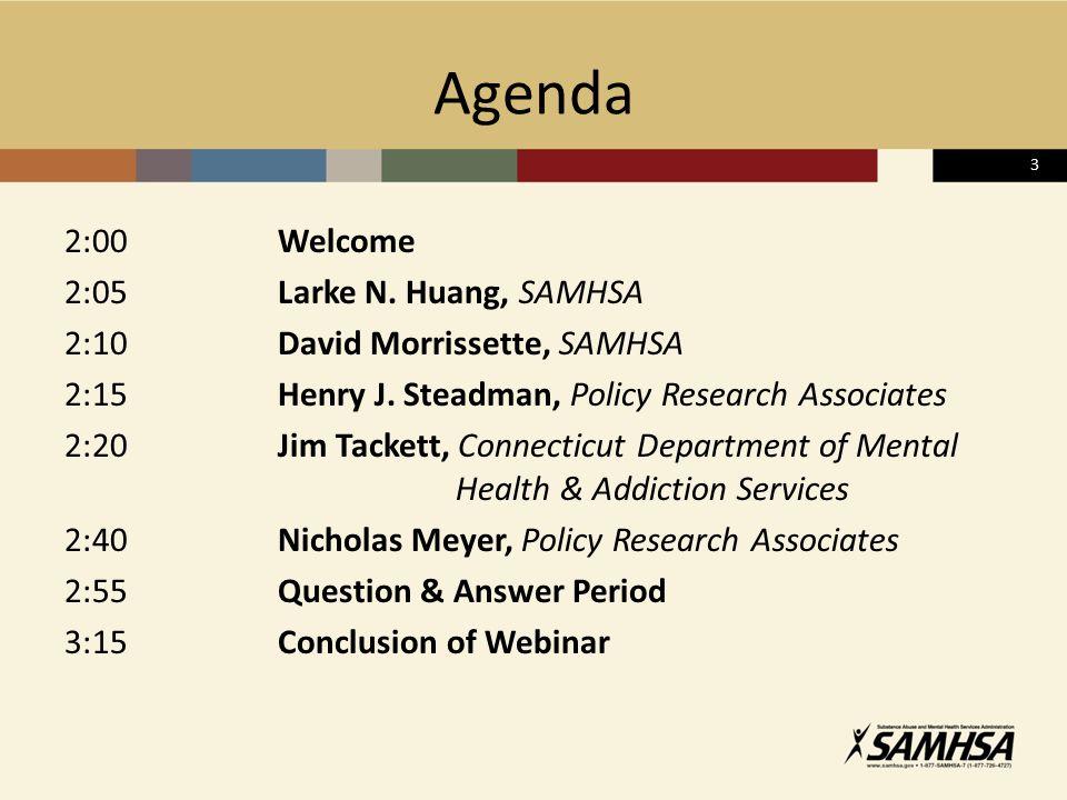 3 Agenda 2:00Welcome 2:05Larke N. Huang, SAMHSA 2:10David Morrissette, SAMHSA 2:15Henry J.