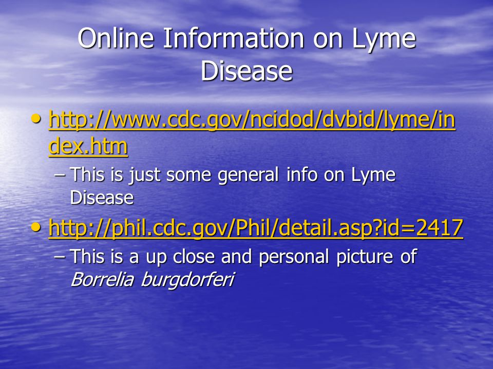 Online Information on Lyme Disease http://www.cdc.gov/ncidod/dvbid/lyme/in dex.htm http://www.cdc.gov/ncidod/dvbid/lyme/in dex.htm http://www.cdc.gov/ncidod/dvbid/lyme/in dex.htm http://www.cdc.gov/ncidod/dvbid/lyme/in dex.htm –This is just some general info on Lyme Disease http://phil.cdc.gov/Phil/detail.asp?id=2417 http://phil.cdc.gov/Phil/detail.asp?id=2417 http://phil.cdc.gov/Phil/detail.asp?id=2417 –This is a up close and personal picture of Borrelia burgdorferi