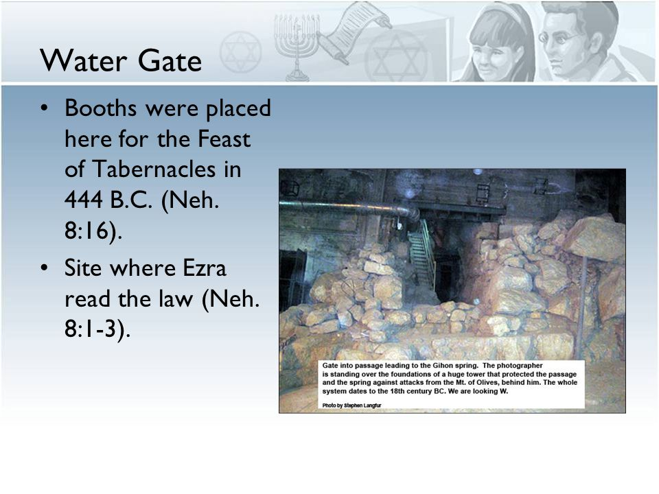 Water Gate Booths were placed here for the Feast of Tabernacles in 444 B.C.