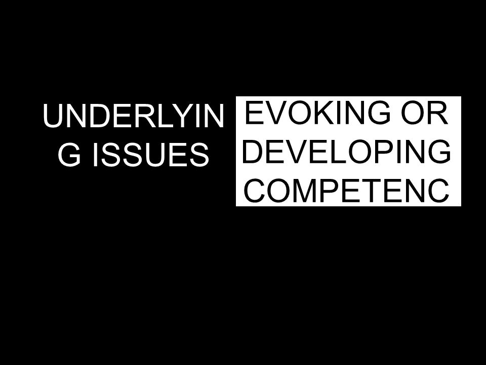 EVOKING OR DEVELOPING COMPETENC E UNDERLYIN G ISSUES