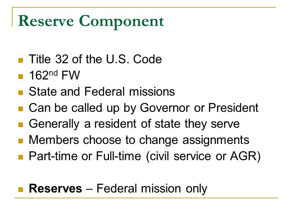 Reserve Component Title 32 of the U.S.