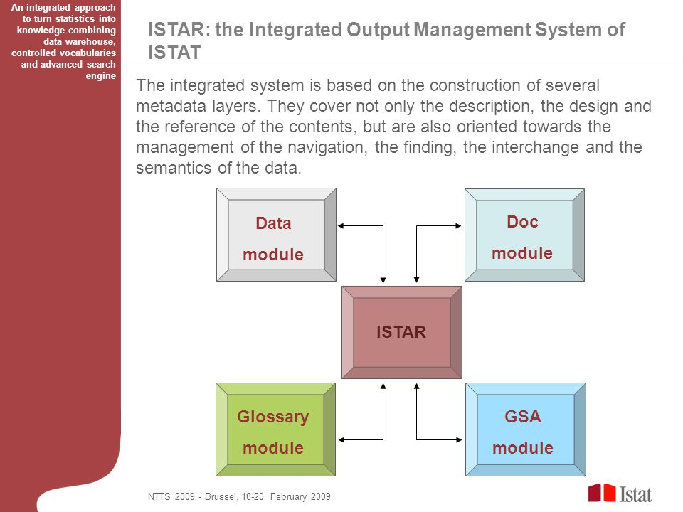 ISTAR: the Integrated Output Management System of ISTAT The integrated system is based on the construction of several metadata layers. They cover not