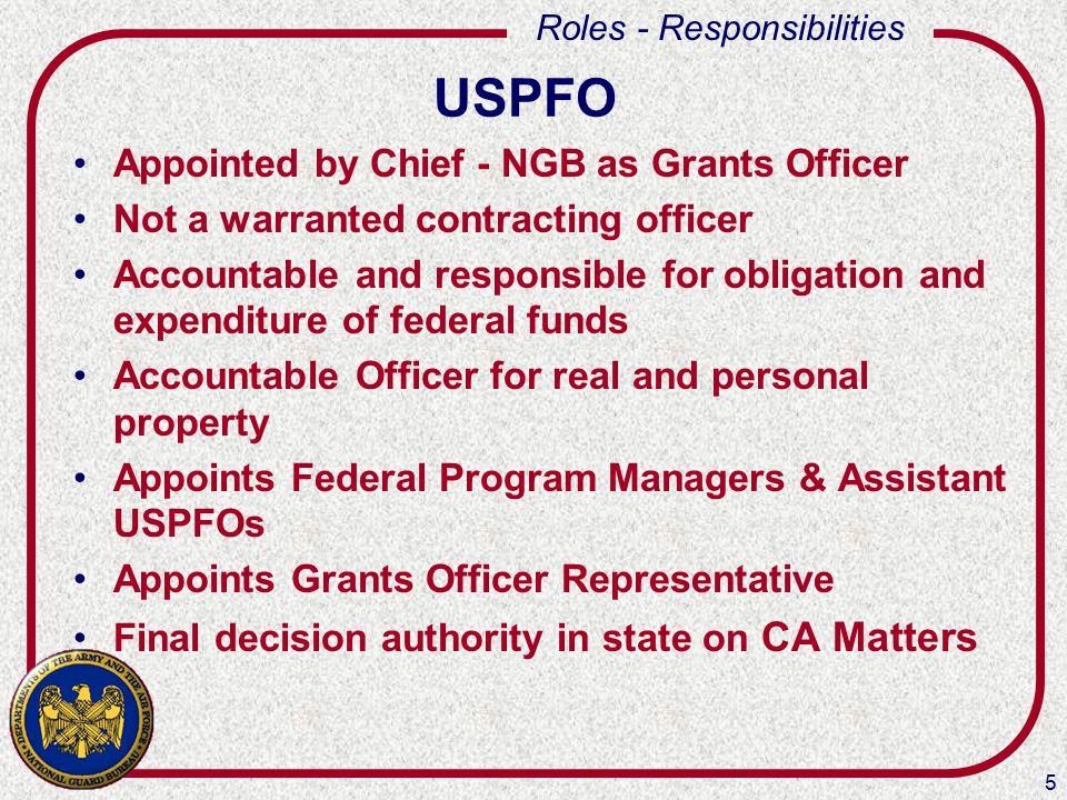 16 Roles - Responsibilities NATIONAL GUARD BUREAU Chief, National Guard Bureau Directors of ANG/ARNG NGB-ZC-PARC NGB-ZC-PARC-A NGB-ZC-JA NGB Program Managers NGB Comptrollers