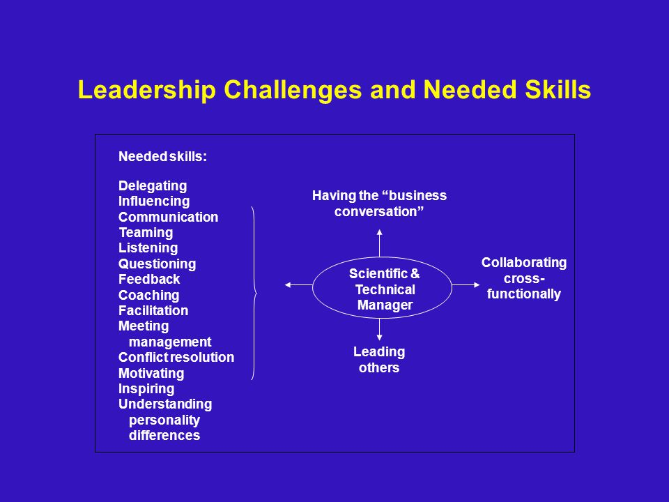 Leadership Challenges and Needed Skills Collaborating cross- functionally Leading others Having the business conversation Needed skills: Delegating Influencing Communication Teaming Listening Questioning Feedback Coaching Facilitation Meeting management Conflict resolution Motivating Inspiring Understanding personality differences Scientific & Technical Manager