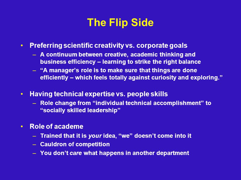 The Flip Side Preferring scientific creativity vs.