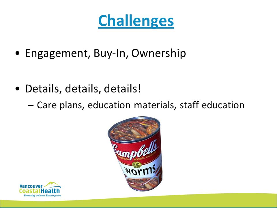 Challenges Engagement, Buy-In, Ownership Details, details, details.