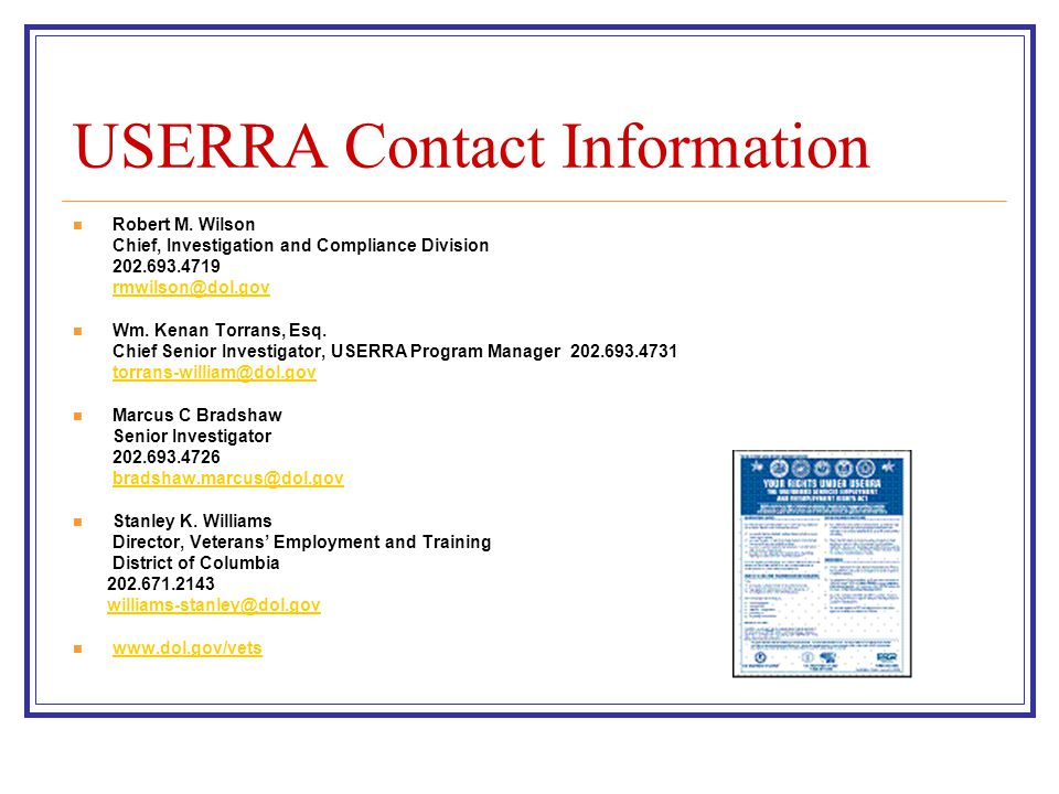 USERRA Contact Information Robert M.