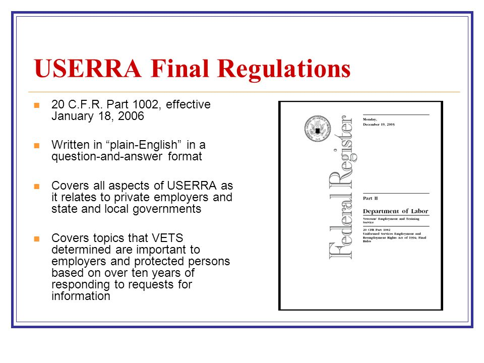 USERRA Final Regulations 20 C.F.R.