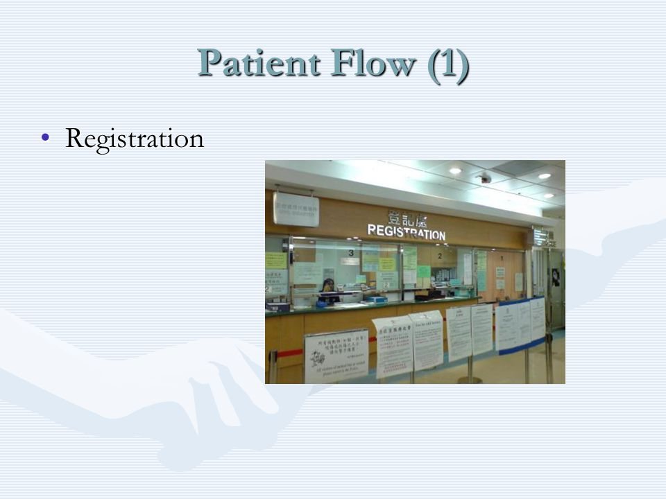 Patient Flow (1) RegistrationRegistration