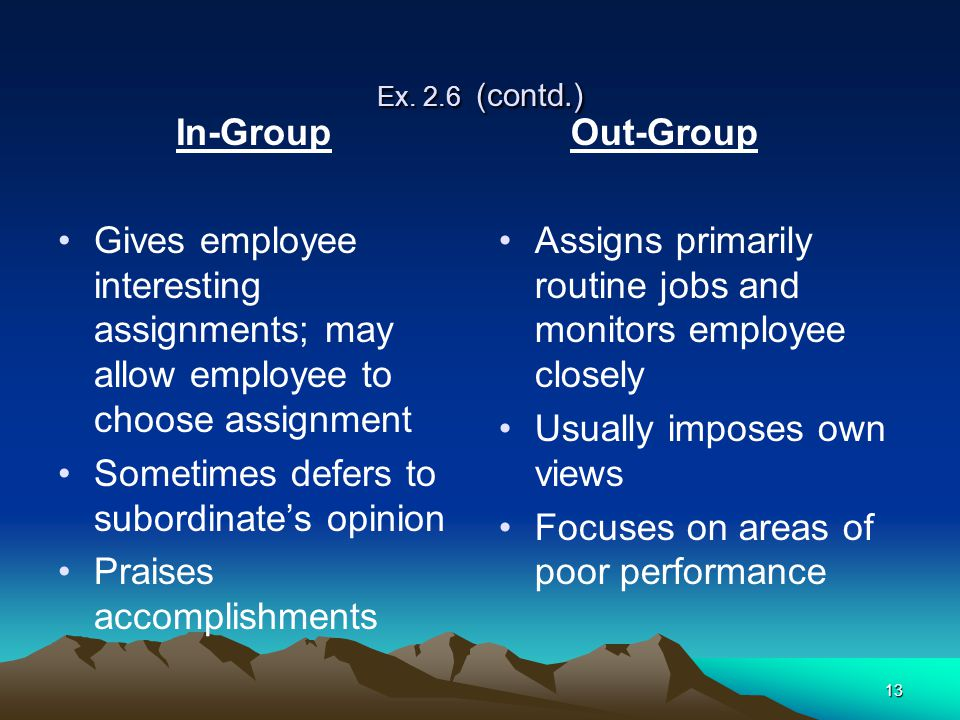 13 Ex. 2.6 (contd.) In-Group Gives employee interesting assignments; may allow employee to choose assignment Sometimes defers to subordinate's opinion