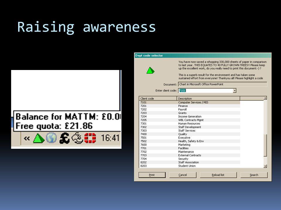 Raising awareness cont..  JISC – Greening ICT project (ERGO) Pledging system