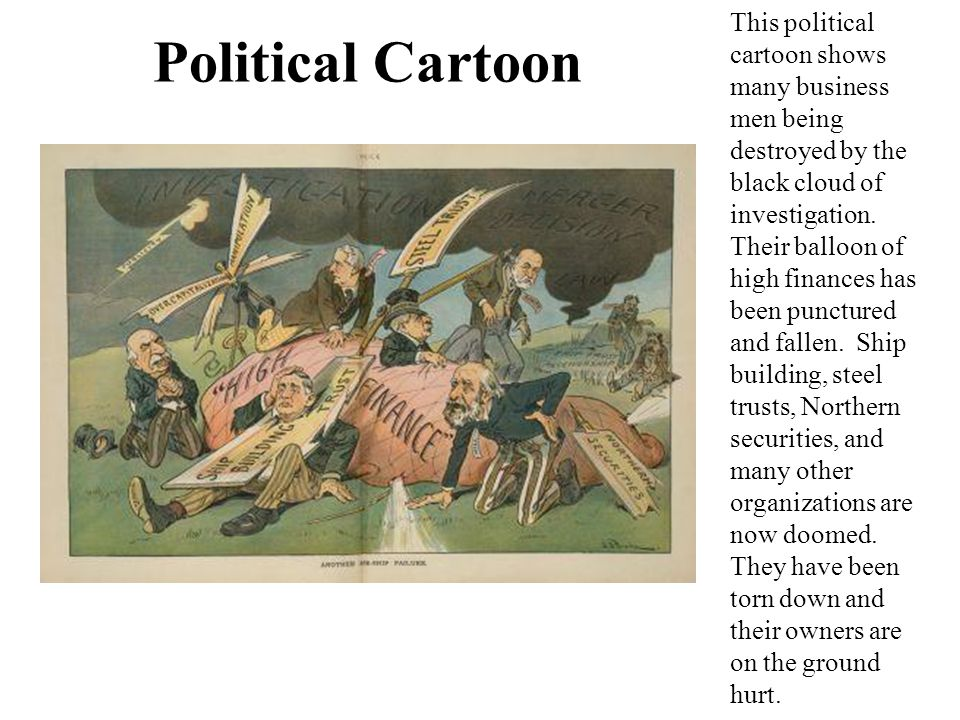 Political Cartoon This political cartoon shows many business men being destroyed by the black cloud of investigation.