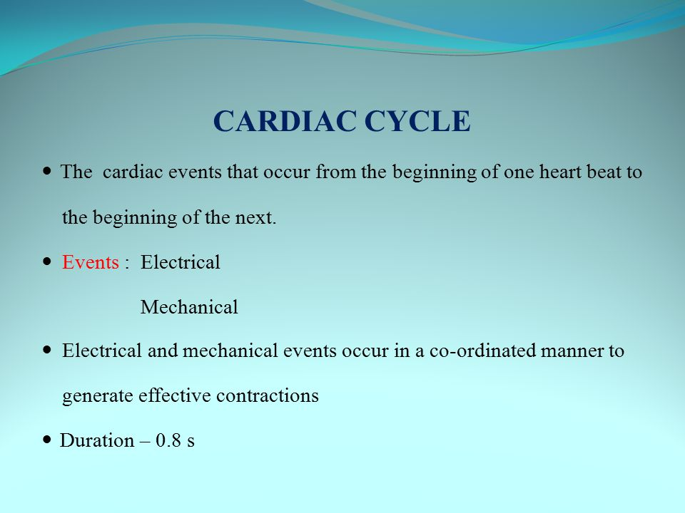 ELECTRICAL EVENTS The rhythmical activity of the heart is controlled by electrical impulses A specialised conduction system generates and propagates impulses Cardiac muscle as a functional syncitium enables rapid and uniform passage of the impulses Ensures : all parts of the ventricle contract simultaneously.