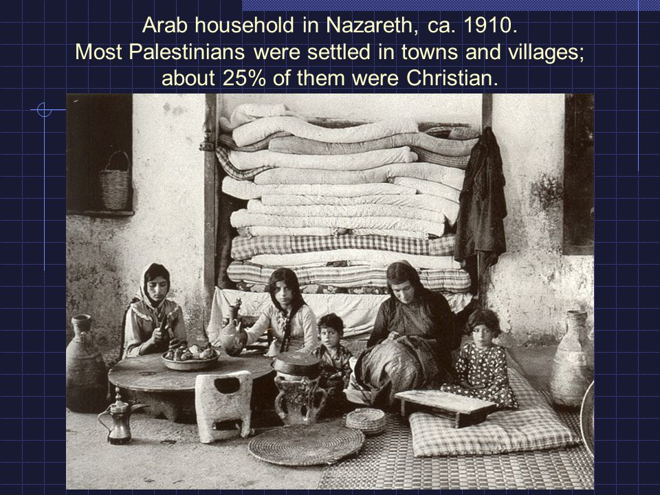 Arab household in Nazareth, ca. 1910. Most Palestinians were settled in towns and villages; about 25% of them were Christian.