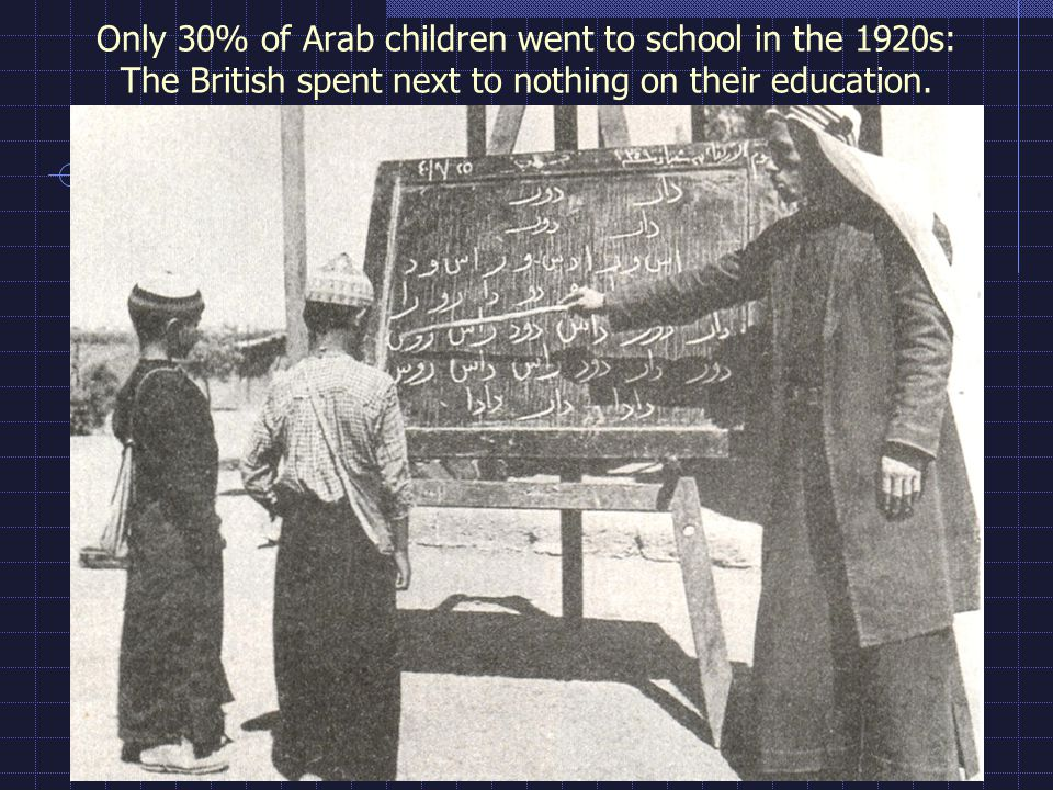 Only 30% of Arab children went to school in the 1920s: The British spent next to nothing on their education.