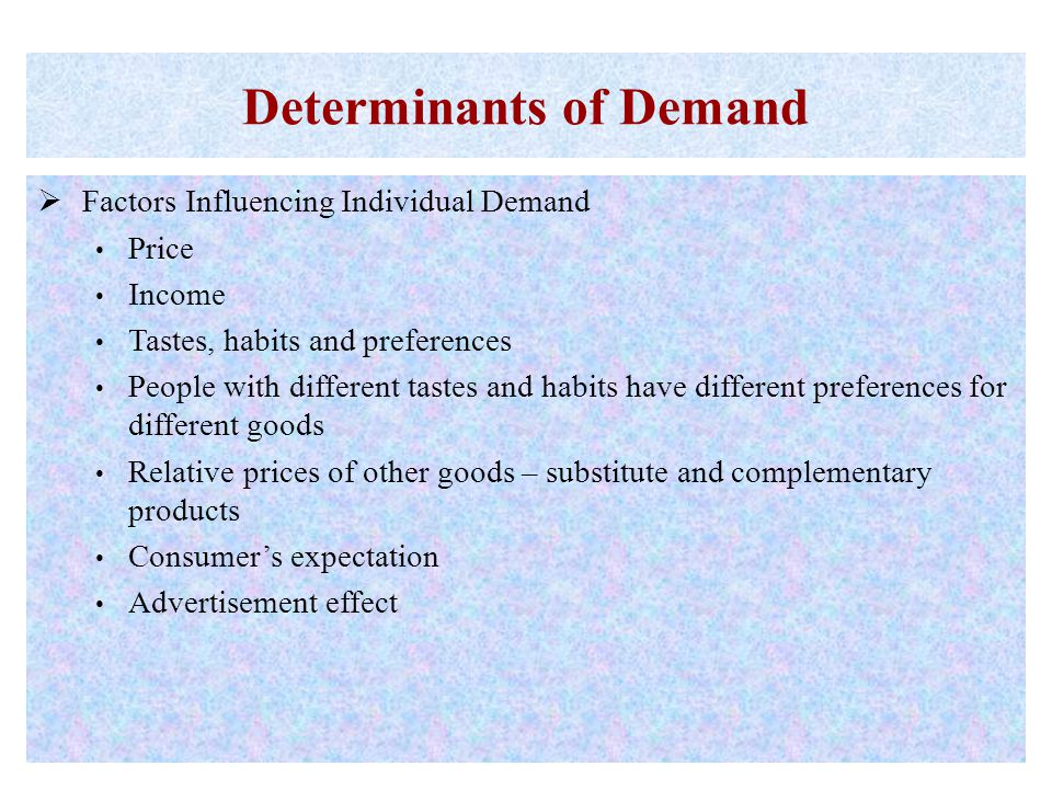 Determinants of Demand  Factors Influencing Individual Demand Price Income Tastes, habits and preferences People with different tastes and habits hav