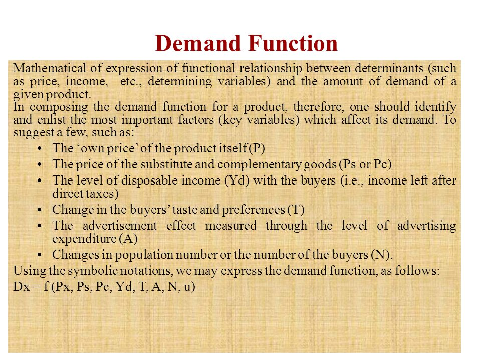 Demand Function Mathematical of expression of functional relationship between determinants (such as price, income, etc., determining variables) and th
