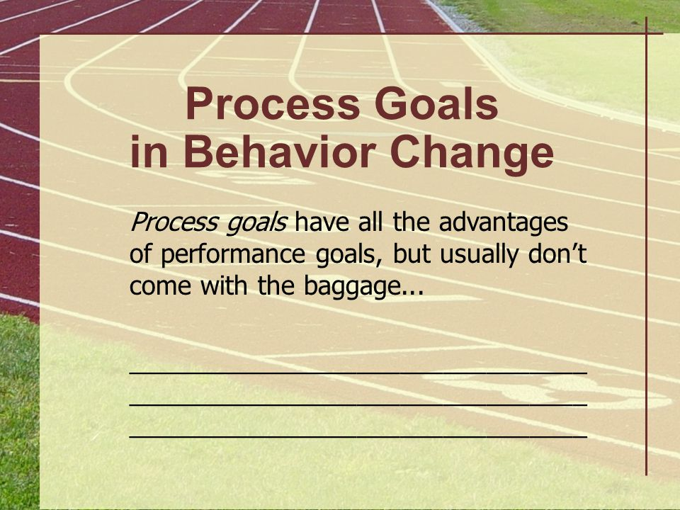 Forms of Goal Evaluation Goal Evaluation Strategy Lose 10 pounds in 6 months Improve concentration levels during practice Client informs fitness instructor of his or her weight weekly Player gives Coach weekly report card, rating practice concentration on a 0 (low)- to-10 (high) scale; Coach rates player as well…
